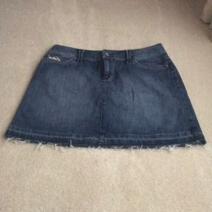White House Black Market Jean frayed Skirt